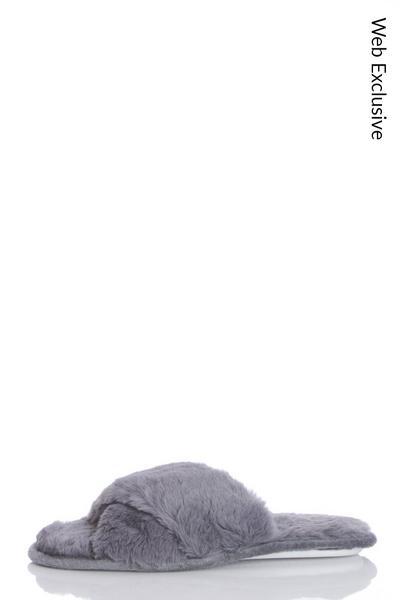 Grey Fluffy Cross Slippers
